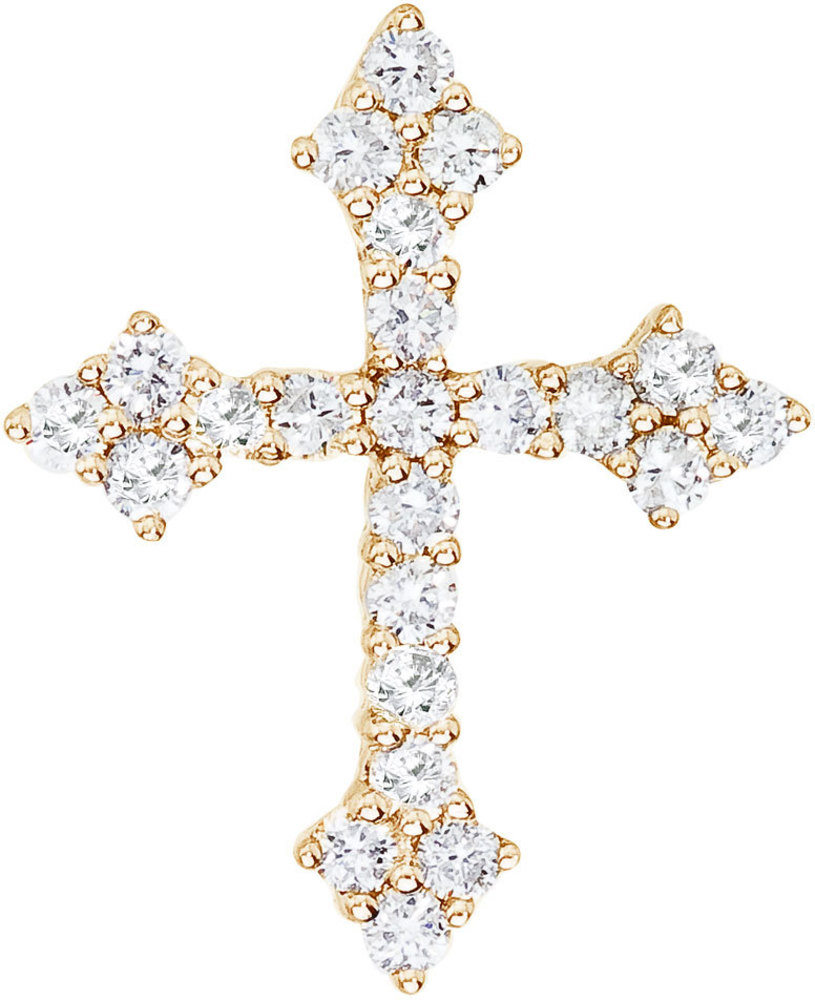 14K Yellow Gold .53 ctw Diamond Cross Pendant (Chain NOT included)