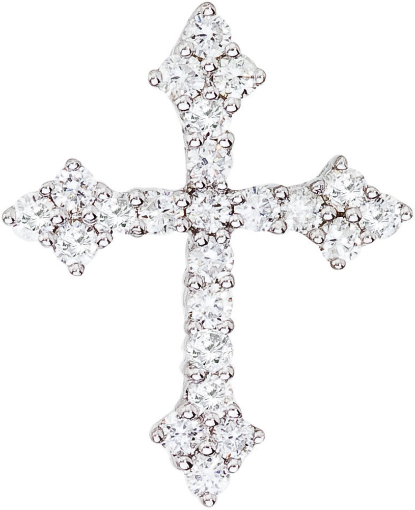 14K White Gold .53 ctw Diamond Cross Pendant (Chain NOT included)