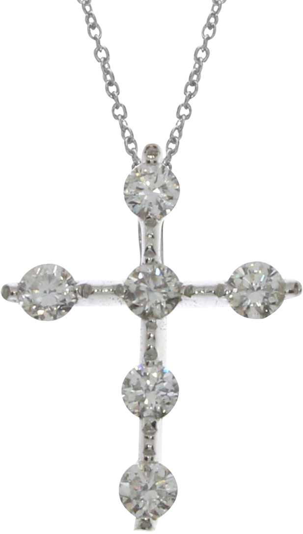 14K White Gold Diamond Cross Pendant (Chain NOT included) (CM-P9183W)