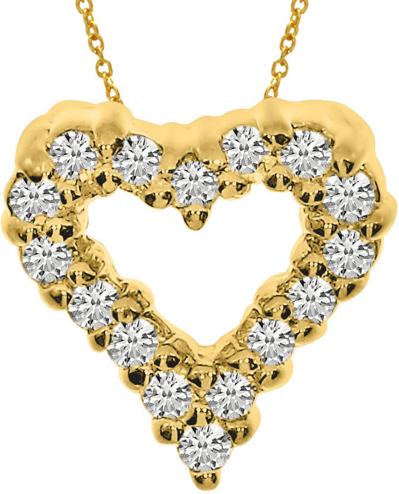 14K Yellow Gold Diamond Heart Pendant (Chain NOT included) (CM-P923)