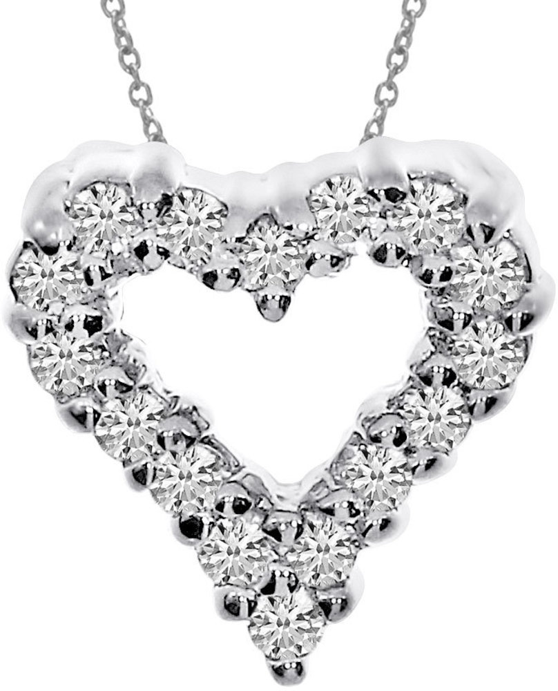 14K White Gold Diamond Heart Pendant (Chain NOT included) (CM-P923W)