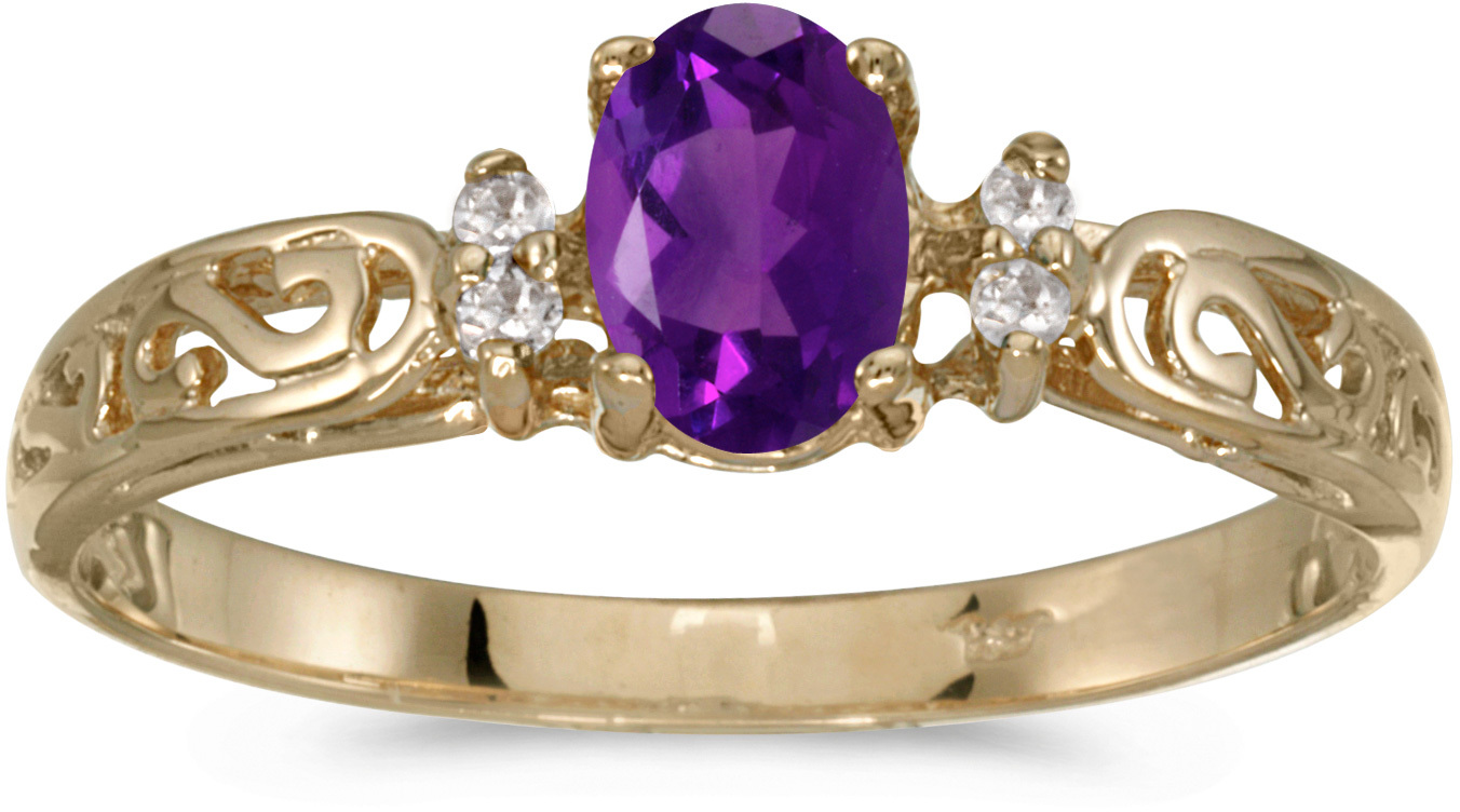 10k Yellow Gold Oval Amethyst And Diamond Ring (CM-R2205-02)