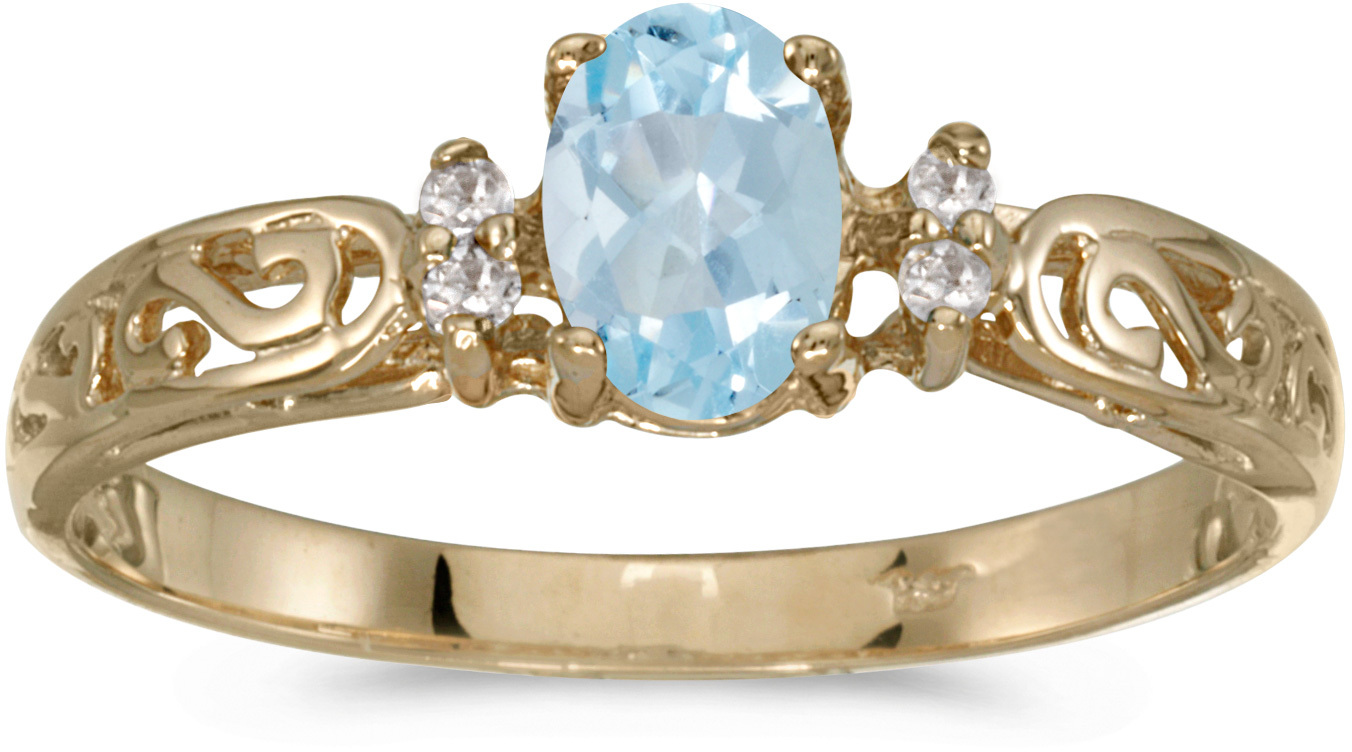10k Yellow Gold Oval Aquamarine And Diamond Ring (CM-R2205-03)