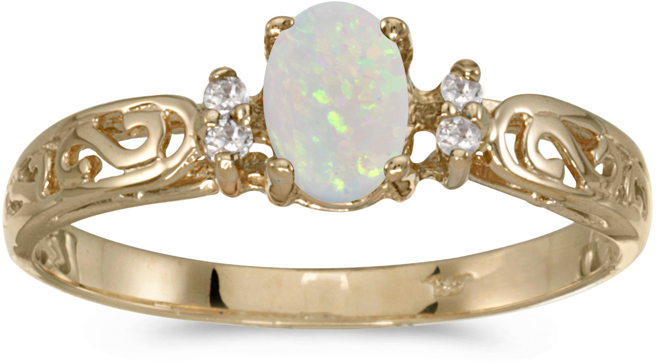 10k Yellow Gold Oval Opal And Diamond Ring (CM-R2205-10)