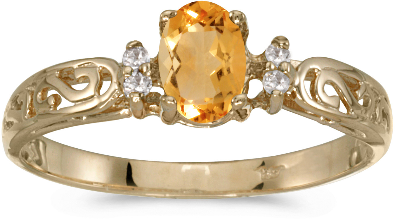 10k Yellow Gold Oval Citrine And Diamond Ring (CM-R2205-11)