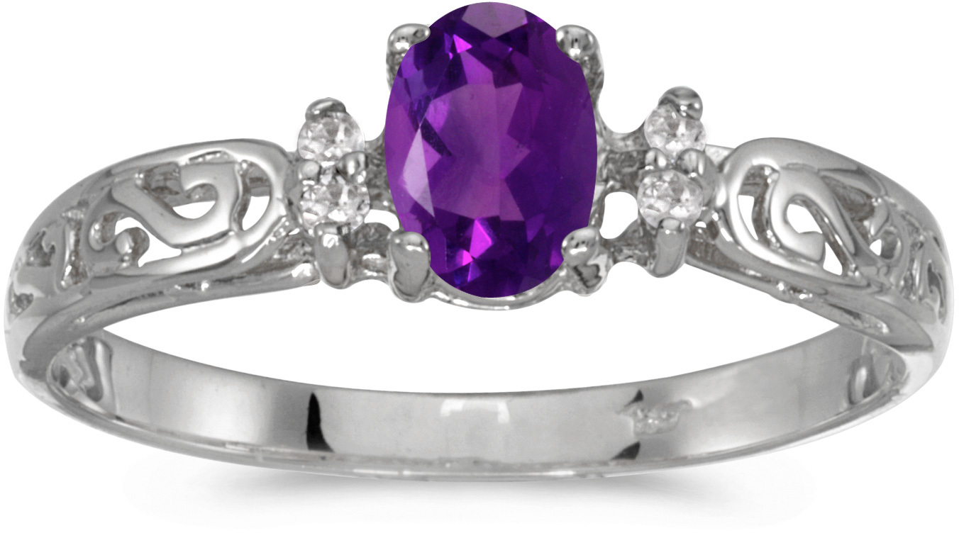 10k White Gold Oval Amethyst And Diamond Ring (CM-R2205W-02)