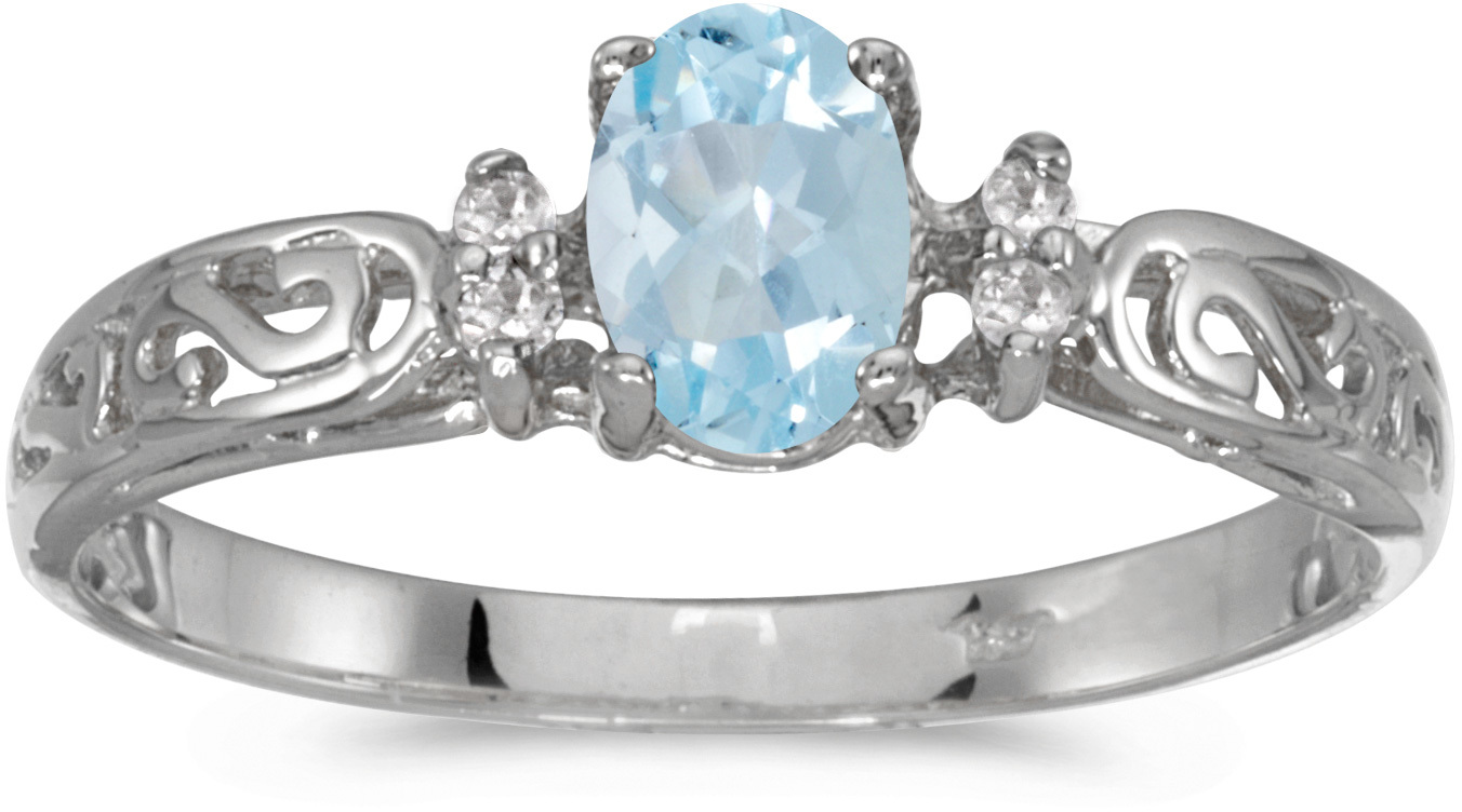 10k White Gold Oval Aquamarine And Diamond Ring (CM-R2205W-03)