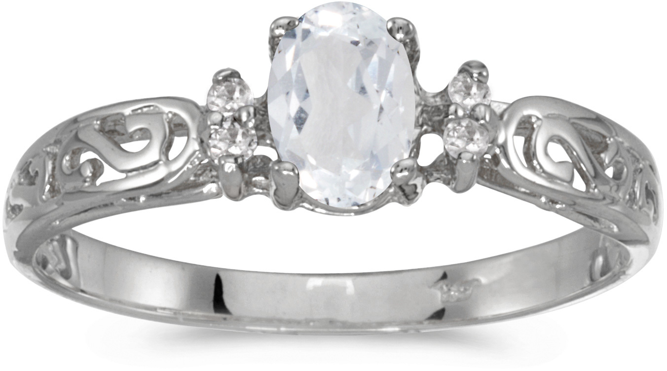 10k White Gold Oval White Topaz And Diamond Ring (CM-R2205W-04)