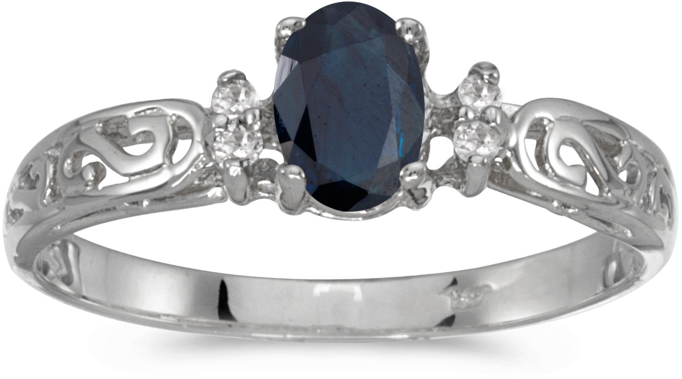 10k White Gold Oval Sapphire And Diamond Ring (CM-R2205W-09)