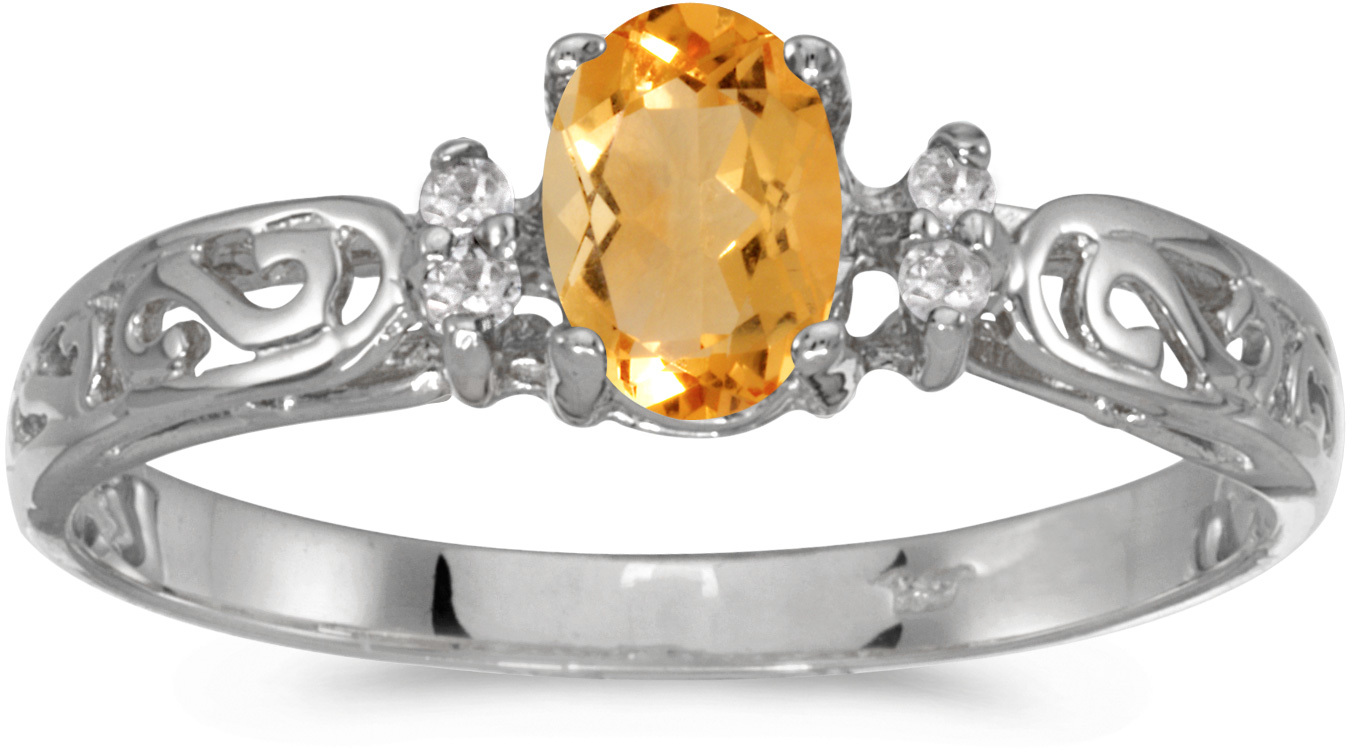 10k White Gold Oval Citrine And Diamond Ring (CM-R2205W-11)