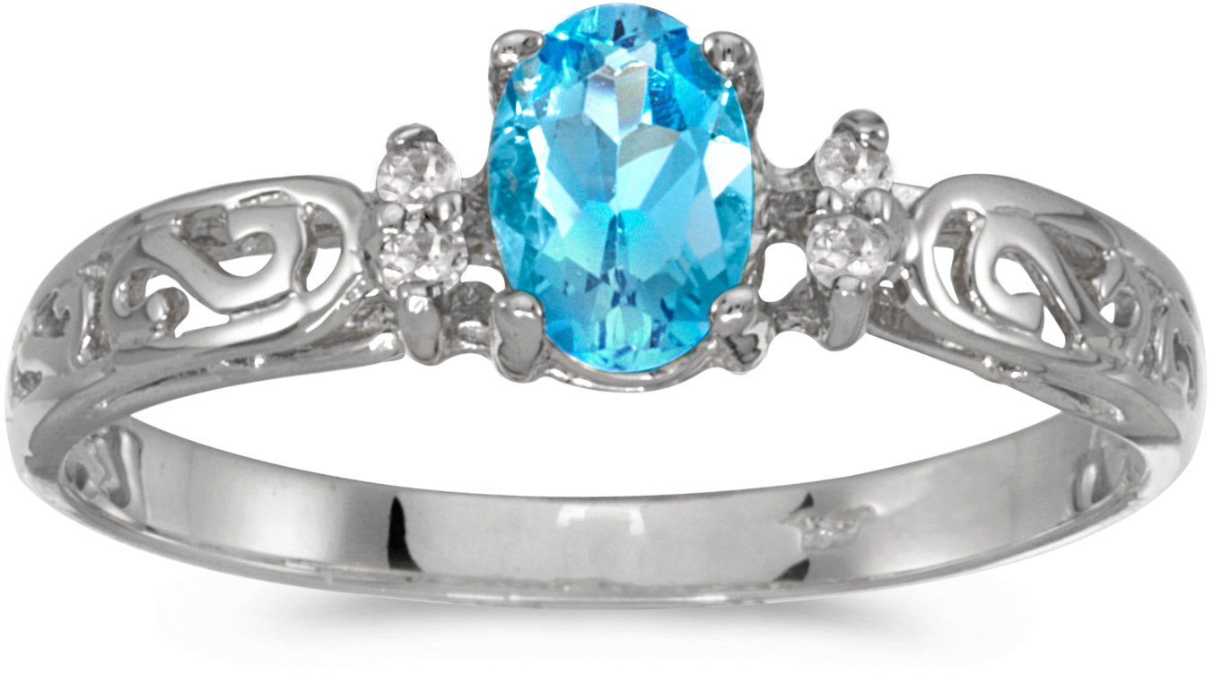 10k White Gold Oval Blue Topaz And Diamond Ring (CM-R2205W-12)
