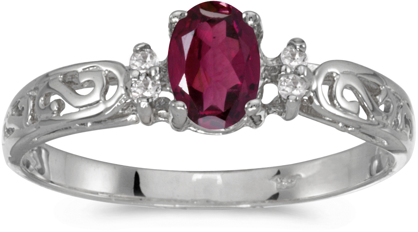 10k White Gold Oval Rhodolite Garnet And Diamond Ring (CM-R2205W-RG)