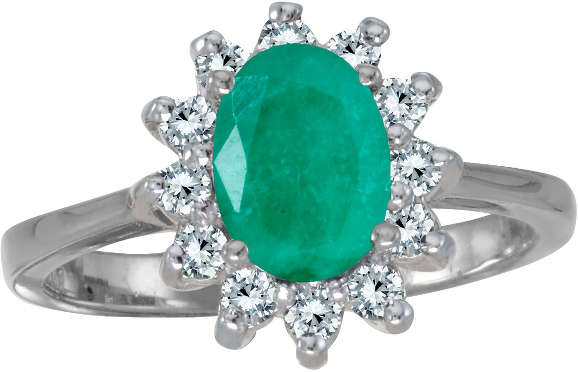 14k White Gold Oval Emerald And Diamond Ring (CM-R2404AW-05)