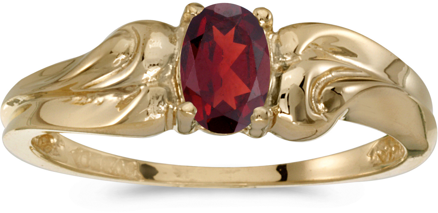 10k Yellow Gold Oval Garnet And Diamond Ring (CM-RM1037-01)