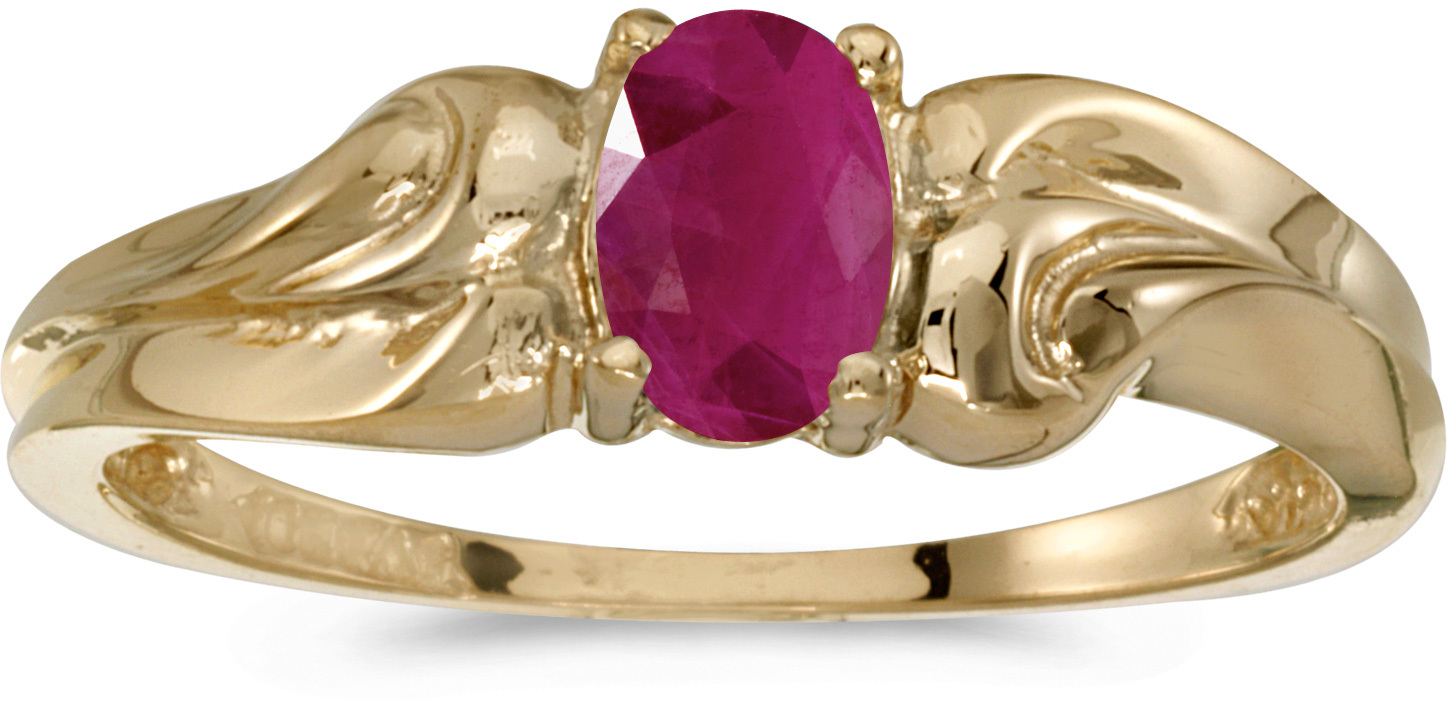 10k Yellow Gold Oval Ruby And Diamond Ring (CM-RM1037-07)
