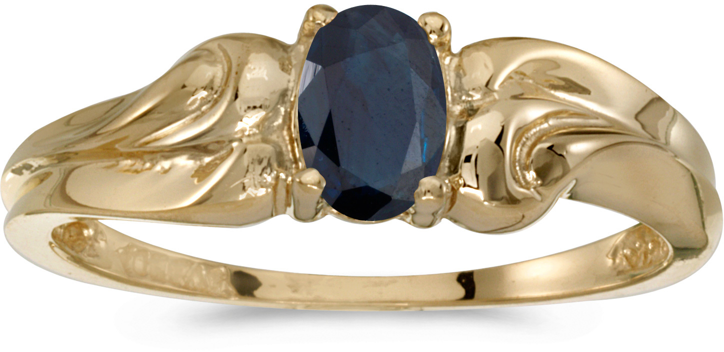 10k Yellow Gold Oval Sapphire And Diamond Ring (CM-RM1037-09)
