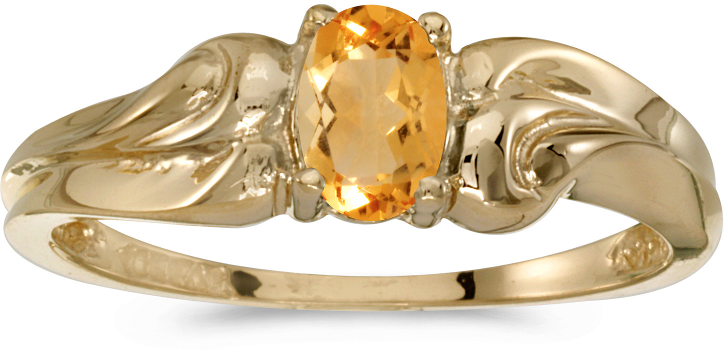 10k Yellow Gold Oval Citrine And Diamond Ring (CM-RM1037-11)