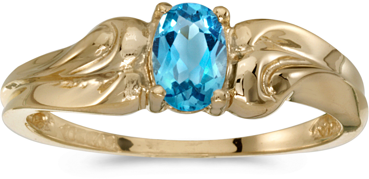 10k Yellow Gold Oval Blue Topaz And Diamond Ring (CM-RM1037-12)