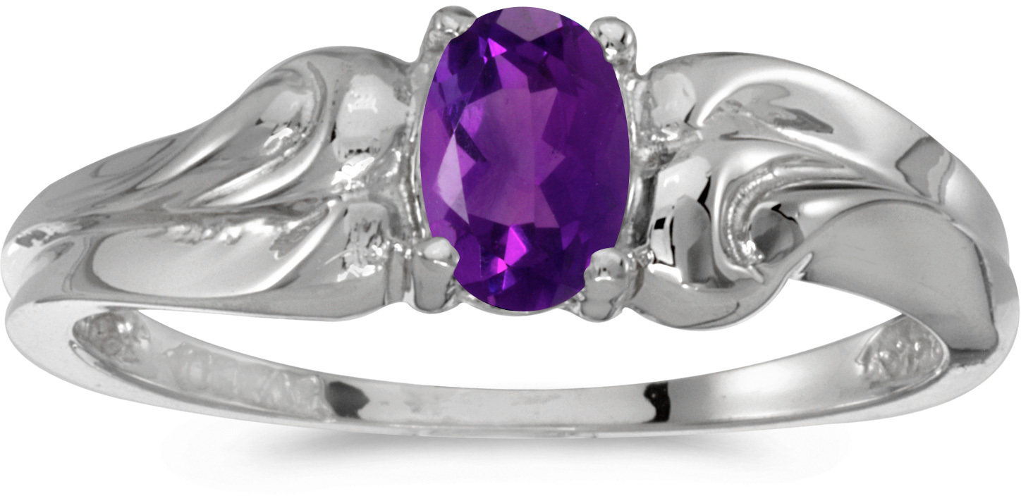 10k White Gold Oval Amethyst Ring (CM-RM1037W-02)