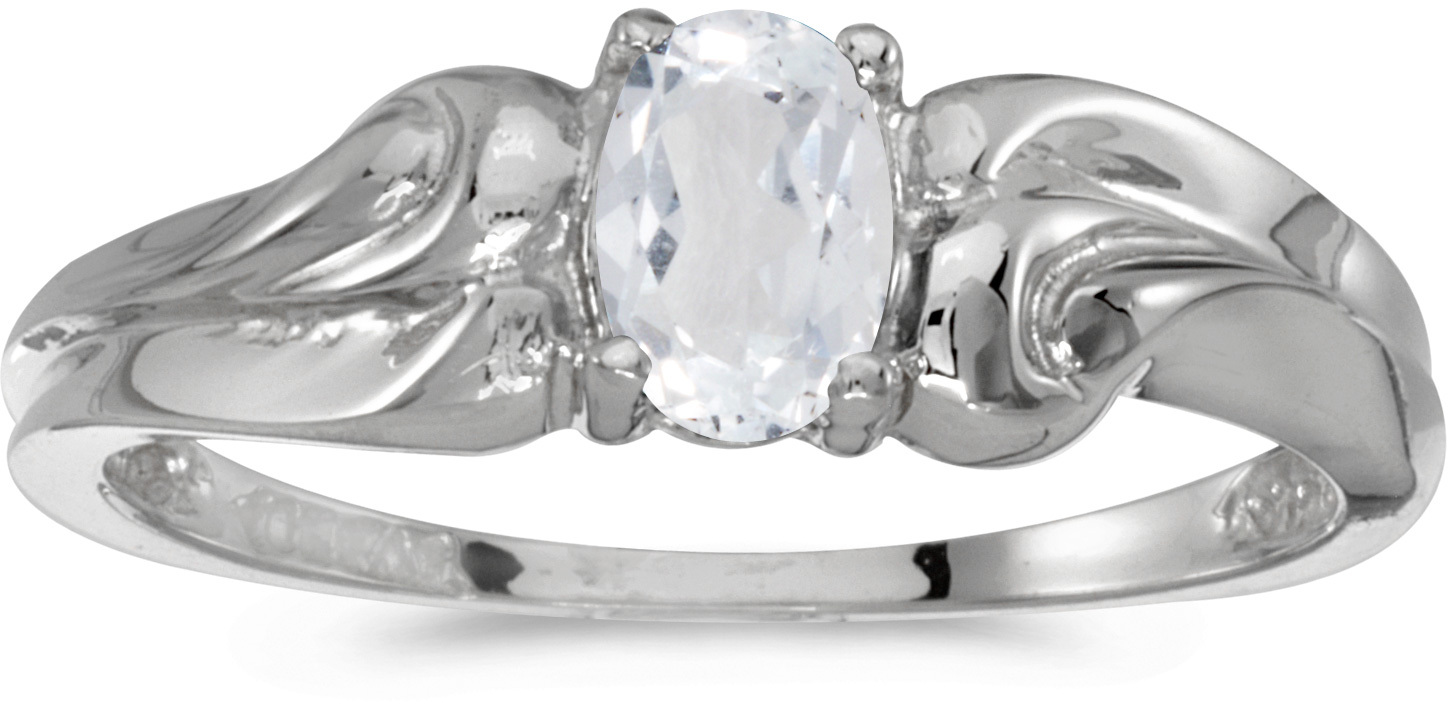 10k White Gold Oval White Topaz Ring (CM-RM1037W-04)