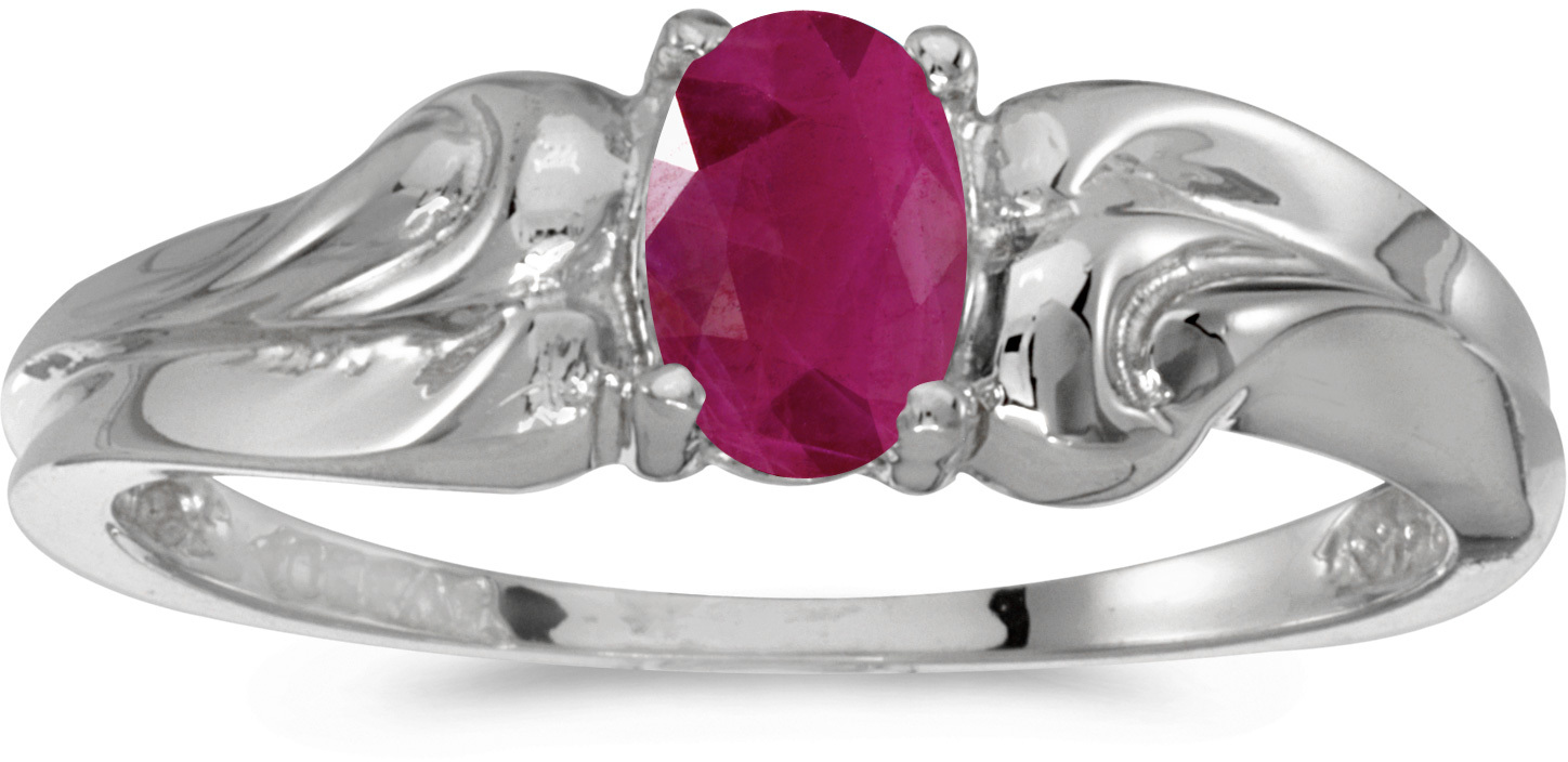10k White Gold Oval Ruby Ring (CM-RM1037W-07)