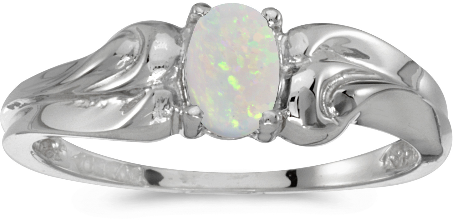 10k White Gold Oval Opal Ring (CM-RM1037W-10)