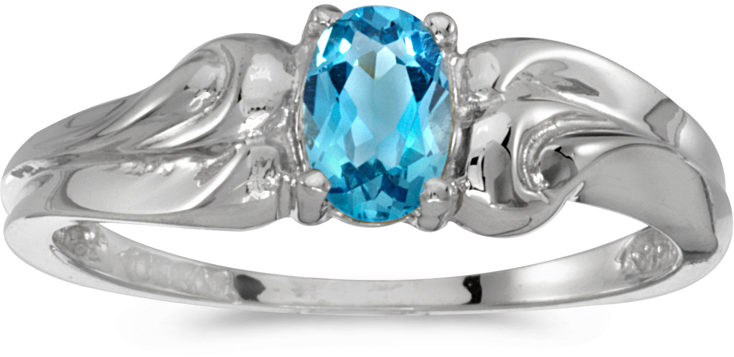 10k White Gold Oval Blue Topaz Ring (CM-RM1037W-12)
