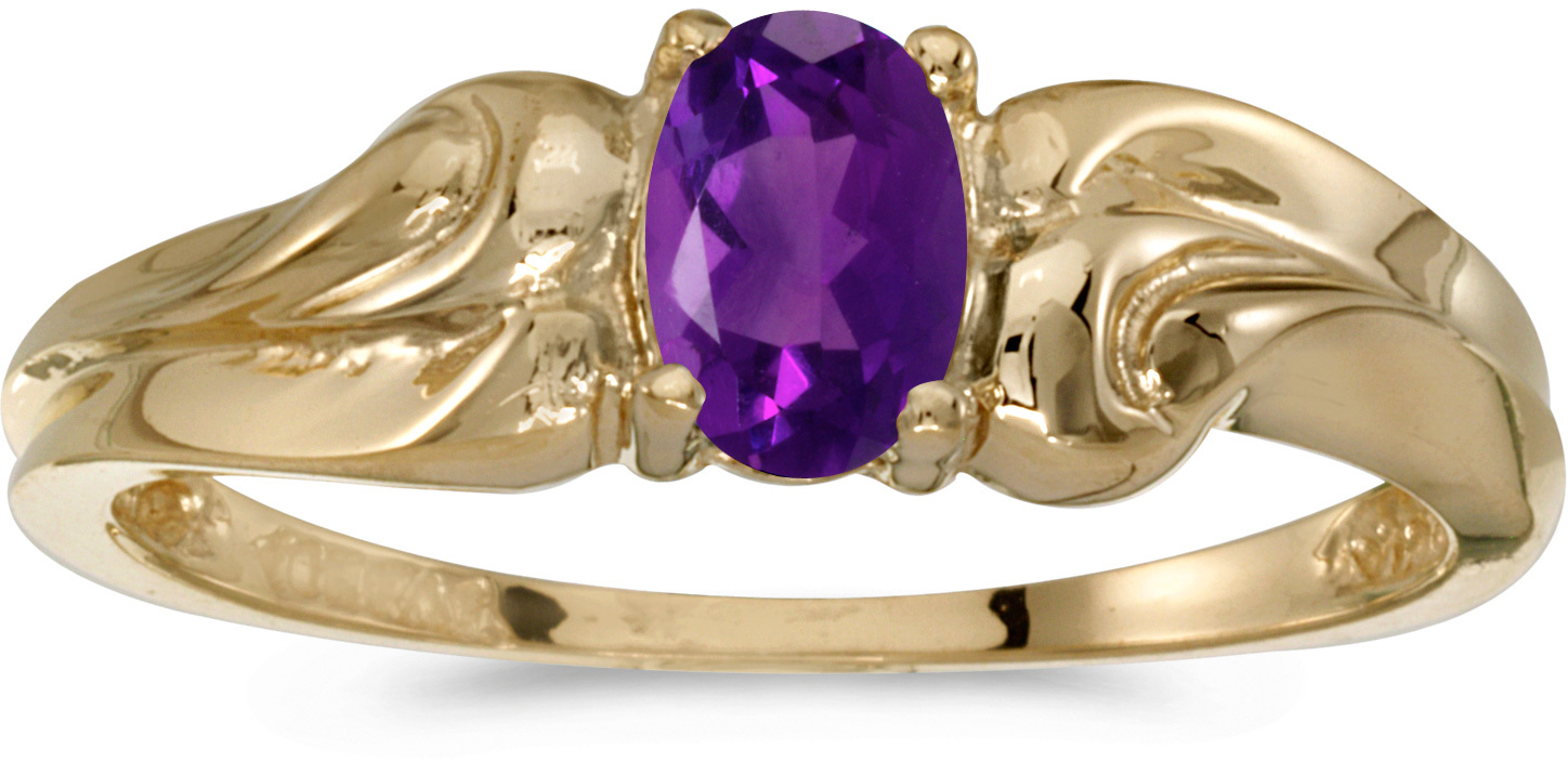 14k Yellow Gold Oval Amethyst Ring (CM-RM1037X-02)