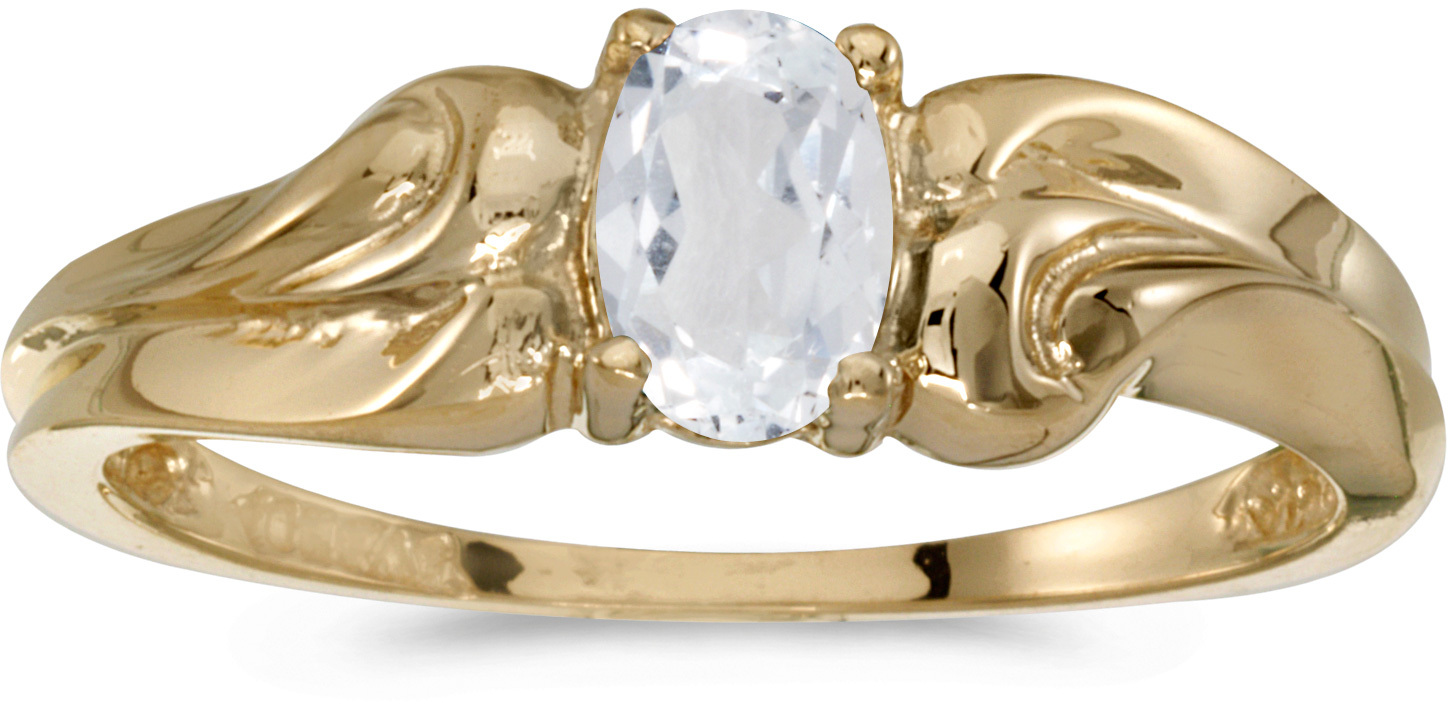 14k Yellow Gold Oval White Topaz Ring (CM-RM1037X-04)