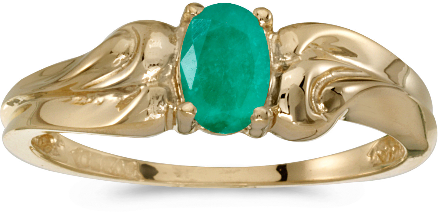 14k Yellow Gold Oval Emerald Ring (CM-RM1037X-05)