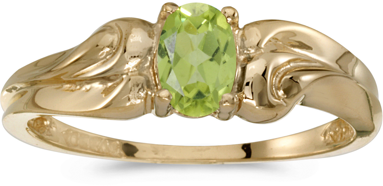 14k Yellow Gold Oval Peridot Ring (CM-RM1037X-08)