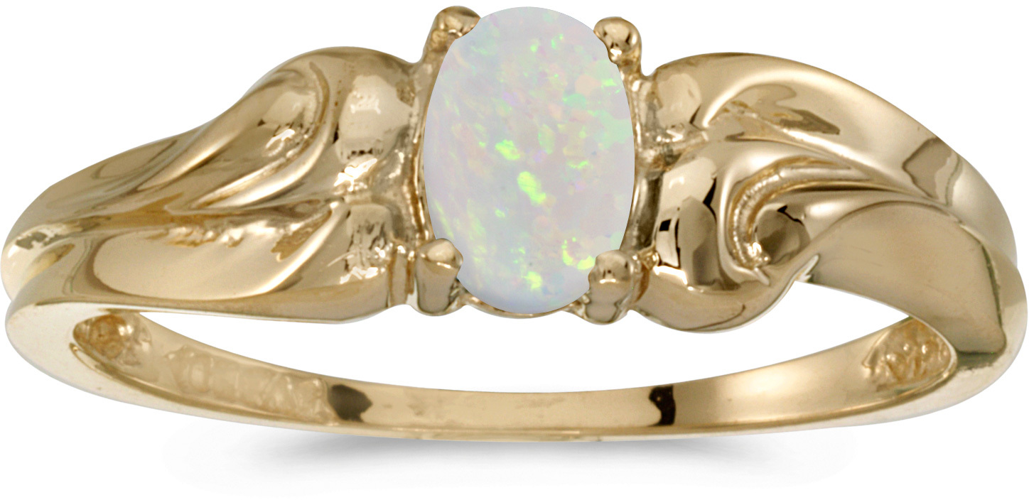 14k Yellow Gold Oval Opal Ring (CM-RM1037X-10)