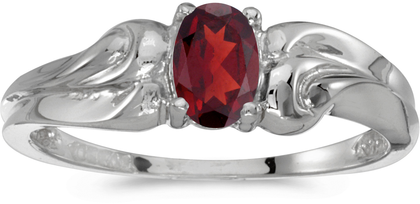 14k White Gold Oval Garnet Ring (CM-RM1037XW-01)