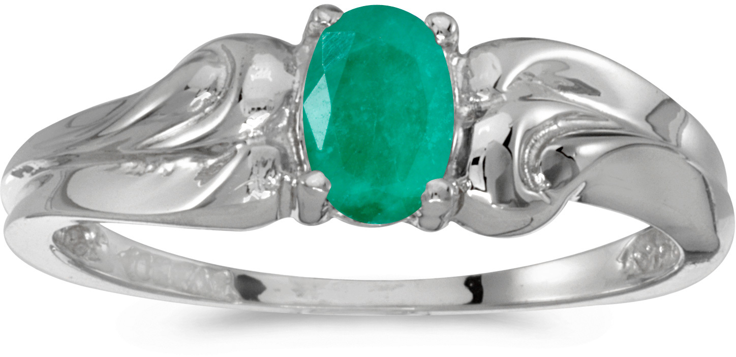 14k White Gold Oval Emerald Ring (CM-RM1037XW-05)