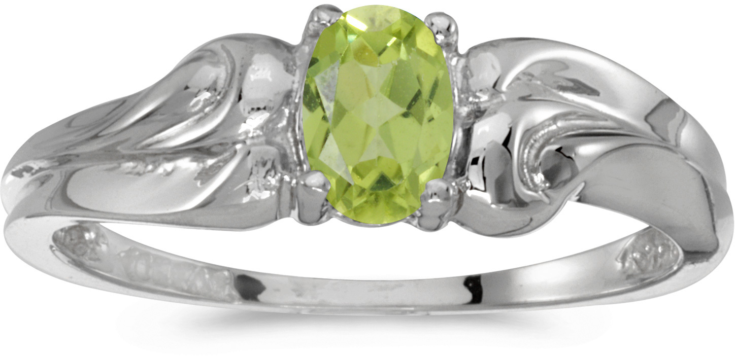 14k White Gold Oval Peridot Ring (CM-RM1037XW-08)