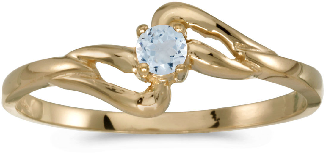 10k Yellow Gold Round Aquamarine Ring (CM-RM1039-03)