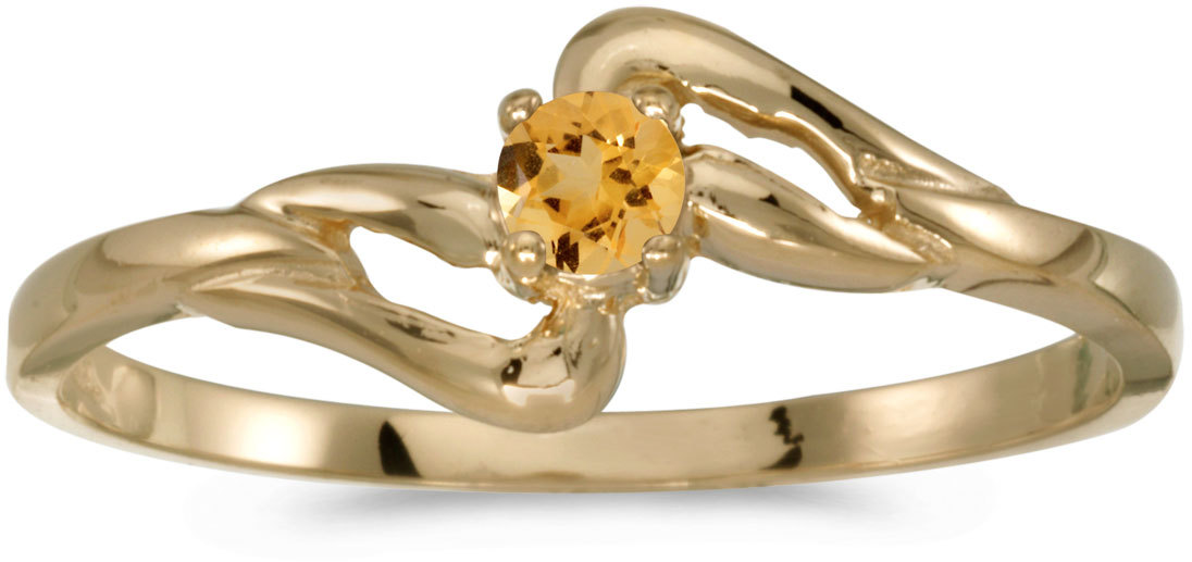 10k Yellow Gold Round Citrine Ring (CM-RM1039-11)