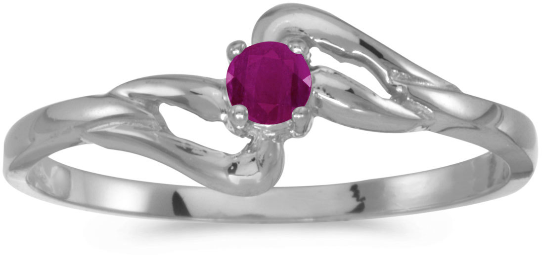 10k White Gold Round Ruby Ring (CM-RM1039W-07)
