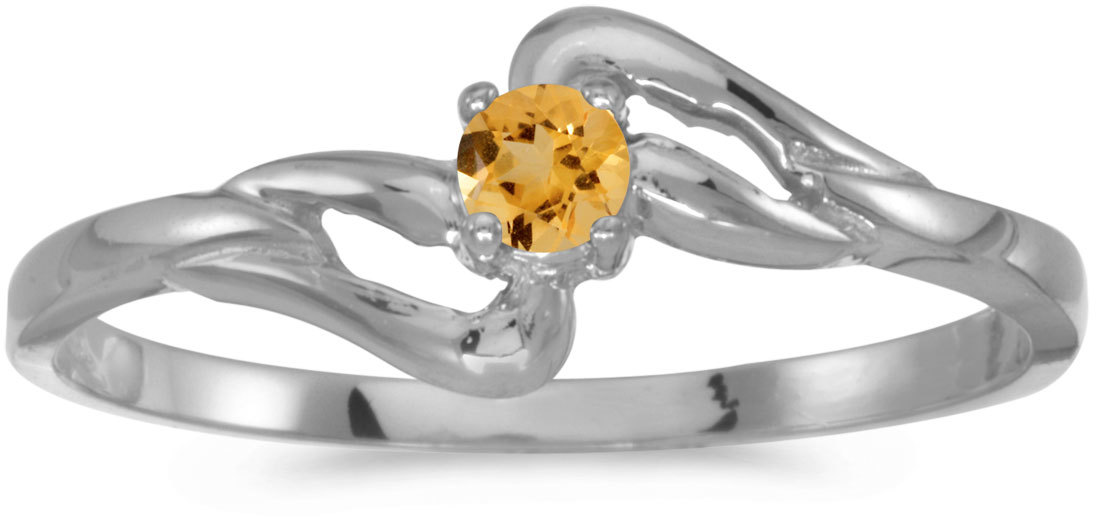 10k White Gold Round Citrine Ring (CM-RM1039W-11)