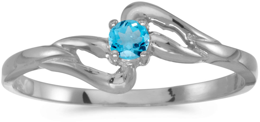 10k White Gold Round Blue Topaz Ring (CM-RM1039W-12)