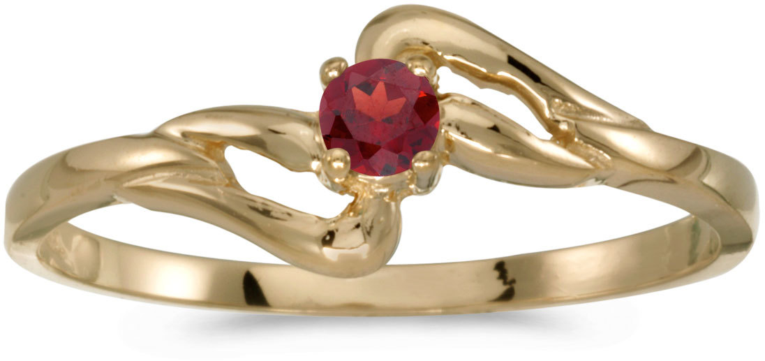 14k Yellow Gold Round Garnet Ring (CM-RM1039X-01)