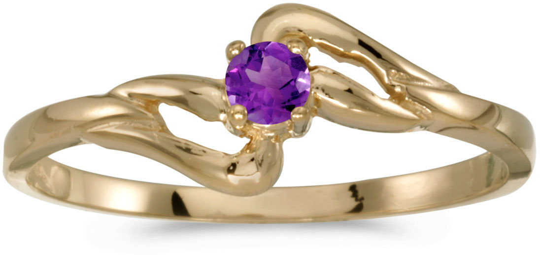 14k Yellow Gold Round Amethyst Ring (CM-RM1039X-02)