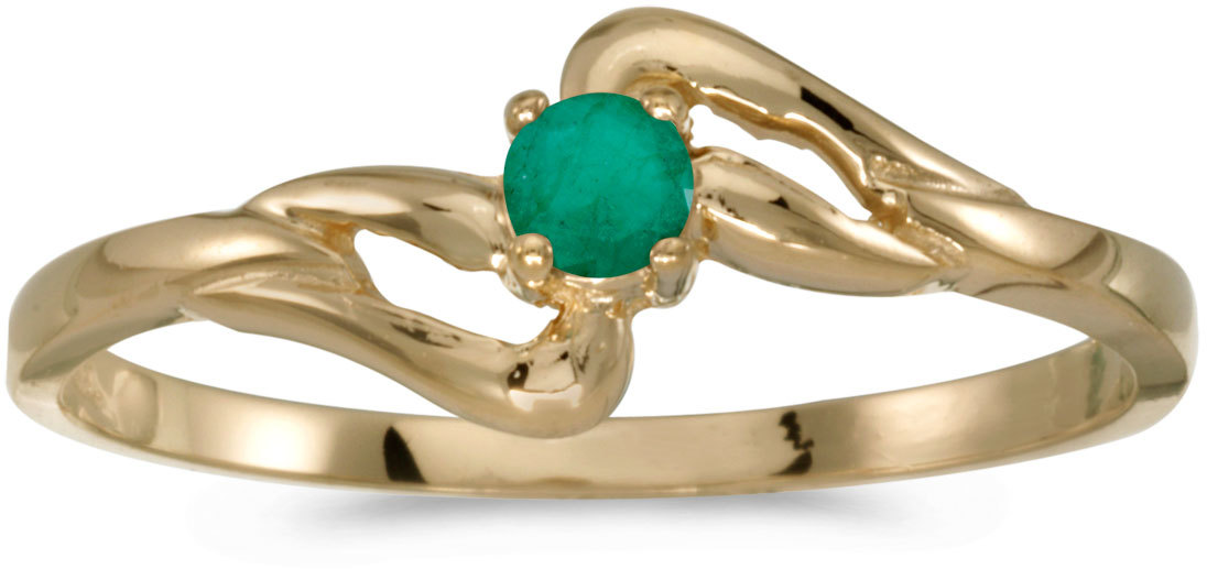 14k Yellow Gold Round Emerald Ring (CM-RM1039X-05)