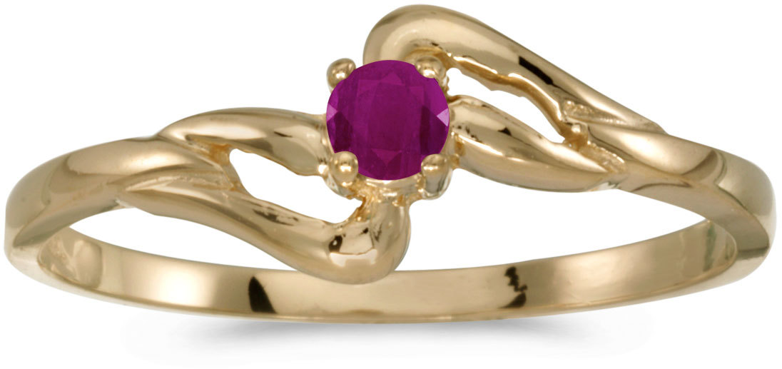 14k Yellow Gold Round Ruby Ring (CM-RM1039X-07)