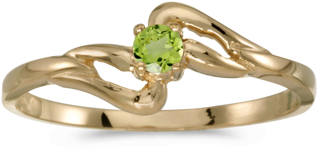 14k Yellow Gold Round Peridot Ring (CM-RM1039X-08)