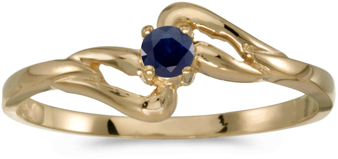 14k Yellow Gold Round Sapphire Ring (CM-RM1039X-09)