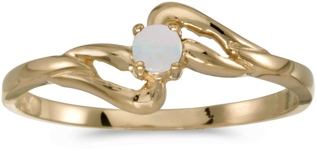 14k Yellow Gold Round Opal Ring (CM-RM1039X-10)