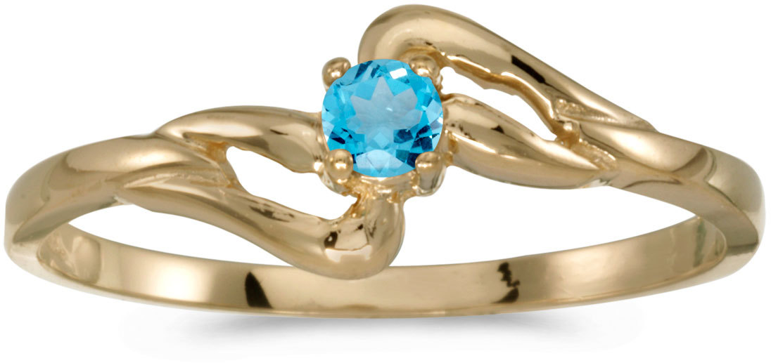 14k Yellow Gold Round Blue Topaz Ring (CM-RM1039X-12)