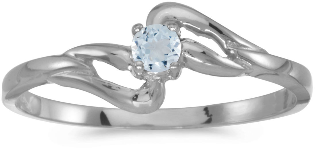 14k White Gold Round Aquamarine Ring (CM-RM1039XW-03)