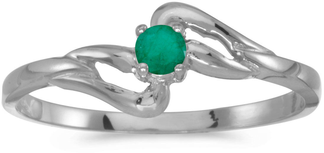 14k White Gold Round Emerald Ring (CM-RM1039XW-05)